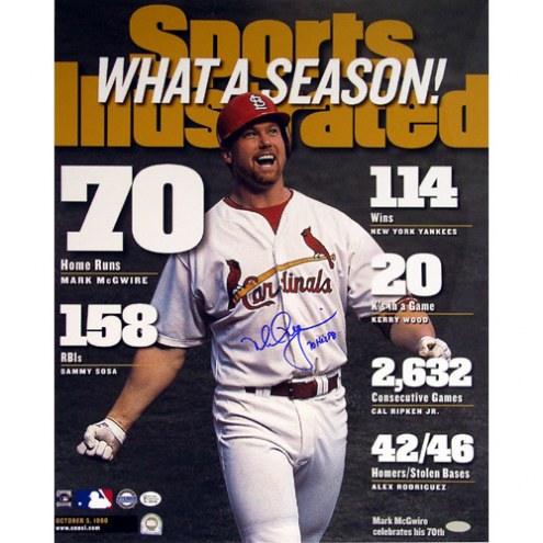"""St. Louis Cardinals Mark McGwire SI Cover w/70 hr Signed 16"""" x 20"""" Photo"""