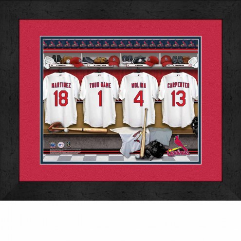 St Louis Cardinals Personalized Locker Room 13 X 16 Framed Photograph