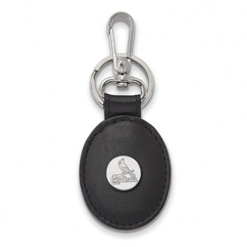 St. Louis Cardinals Sterling Silver Black Leather Oval Key Chain