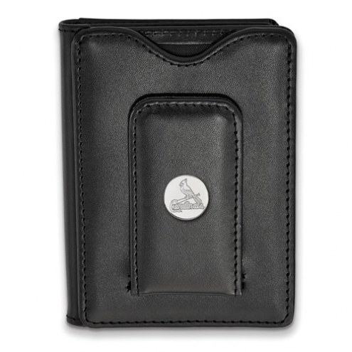St. Louis Cardinals Sterling Silver Black Leather Wallet