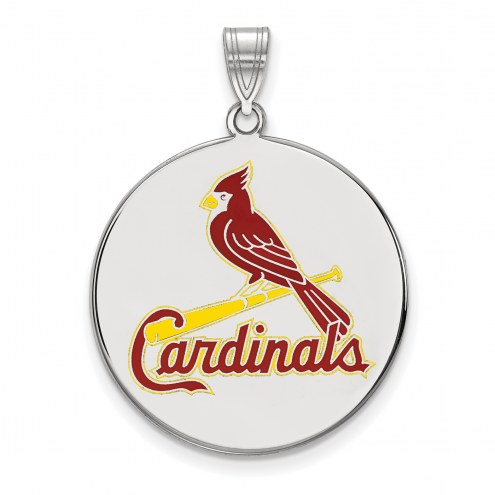 St. Louis Cardinals Sterling Silver Extra Large Enameled Disc Pendant