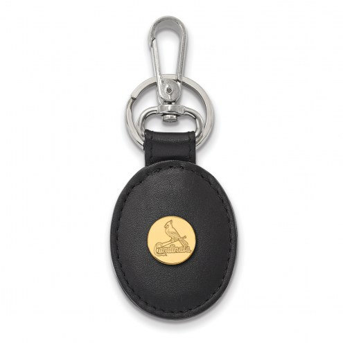 St. Louis Cardinals Sterling Silver Gold Plated Black Leather Key Chain