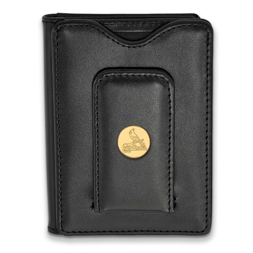 St. Louis Cardinals Sterling Silver Gold Plated Black Leather Wallet