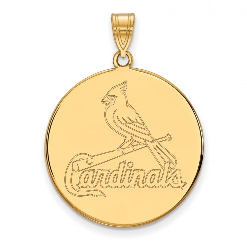 St. Louis Cardinals Sterling Silver Gold Plated Extra Large Disc Pendant