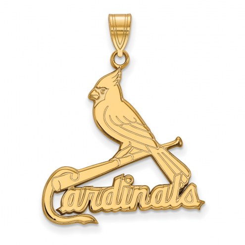 St. Louis Cardinals Sterling Silver Gold Plated Extra Large Pendant