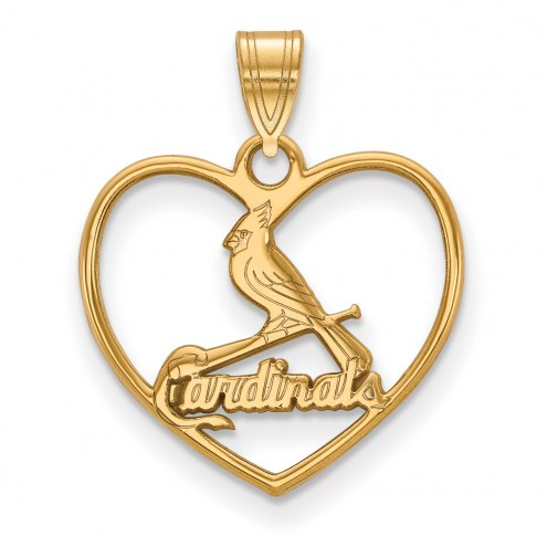 St. Louis Cardinals Sterling Silver Gold Plated Heart Pendant