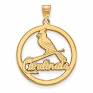 St. Louis Cardinals Sterling Silver Gold Plated Large Circle Pendant