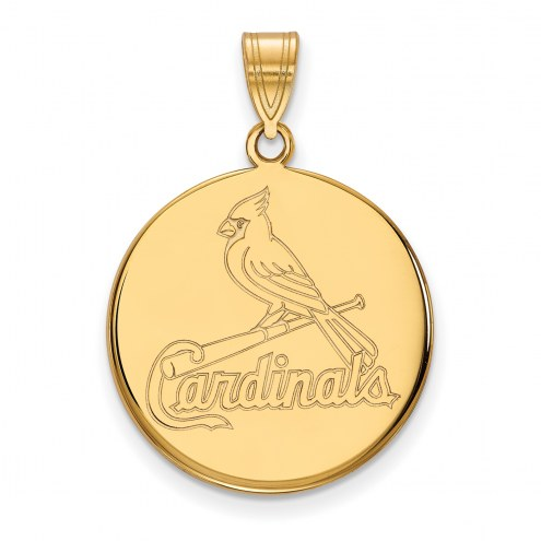 St. Louis Cardinals Sterling Silver Gold Plated Large Disc Pendant