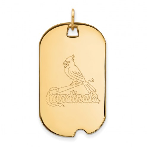 St. Louis Cardinals Sterling Silver Gold Plated Large Dog Tag