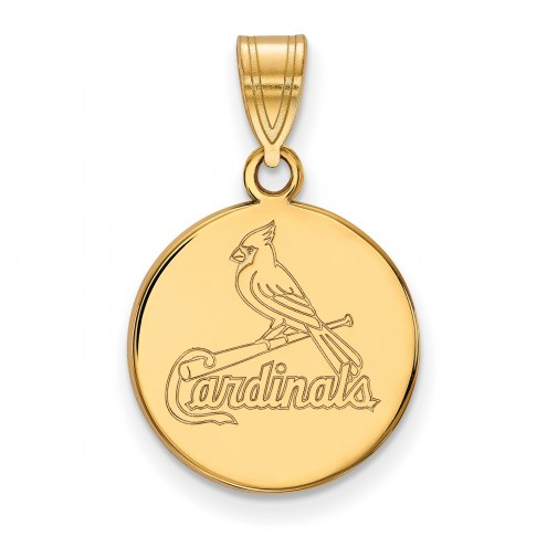St. Louis Cardinals Sterling Silver Gold Plated Medium Disc Pendant