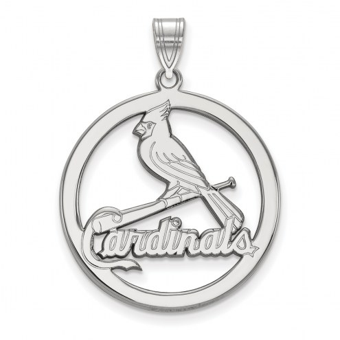 St. Louis Cardinals Sterling Silver Large Circle Pendant