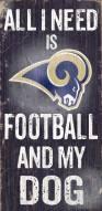 Los Angeles Rams Football & Dog Wood Sign