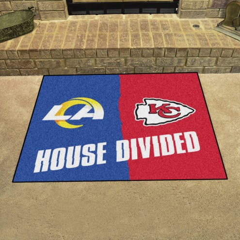 Los Angeles Rams/Kansas City Chiefs House Divided Mat