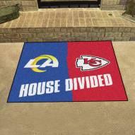 Los Angeles Rams/Kansas City Chiefs House Divided Mat