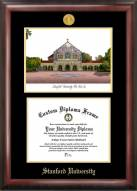 Stanford Cardinal Gold Embossed Diploma Frame with Campus Images Lithograph