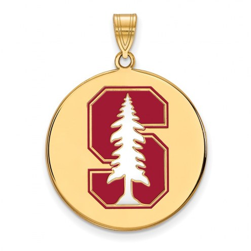 Stanford Cardinal Sterling Silver Gold Plated Extra Large Enameled Disc Pendant