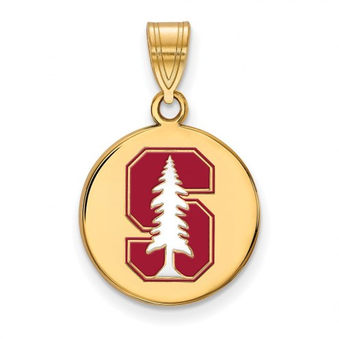 Stanford Cardinal Sterling Silver Gold Plated Medium Enameled Disc Pendant