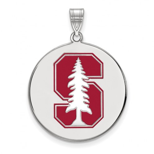 Stanford Cardinal Sterling Silver Extra Large Enameled Disc Pendant