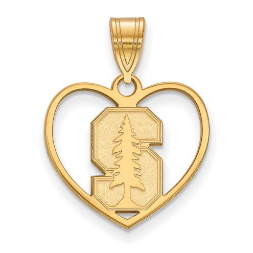 Stanford Cardinal Sterling Silver Gold Plated Heart Pendant
