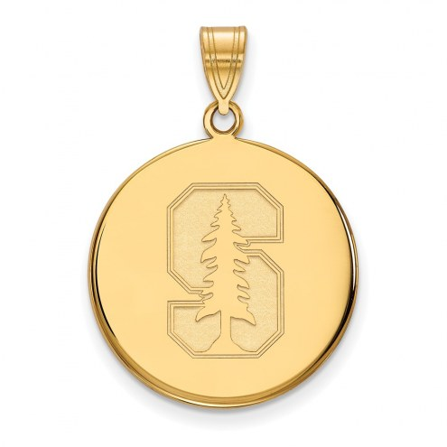 Stanford Cardinal Sterling Silver Gold Plated Large Disc Pendant
