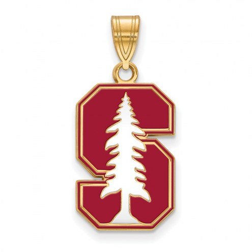 Stanford Cardinal Sterling Silver Gold Plated Large Enameled Pendant