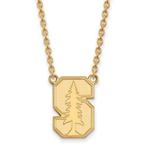 Stanford Cardinal Sterling Silver Gold Plated Large Pendant Necklace
