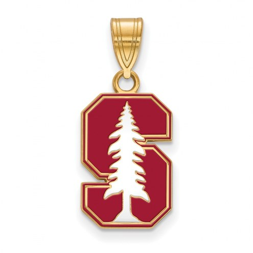 Stanford Cardinal Sterling Silver Gold Plated Medium Enameled Pendant