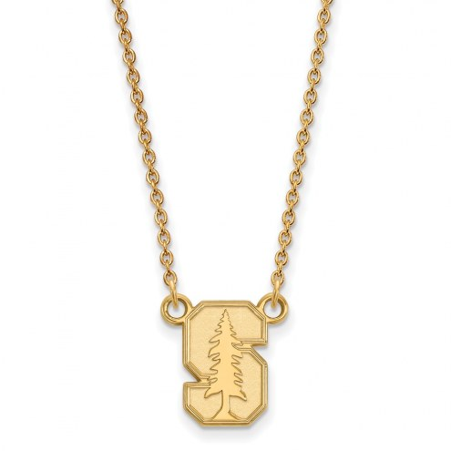 Stanford Cardinal Sterling Silver Gold Plated Small Pendant Necklace