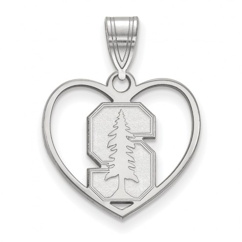 Stanford Cardinal Sterling Silver Heart Pendant