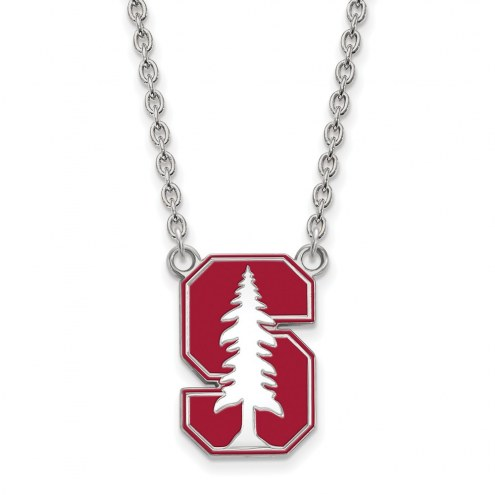 Stanford Cardinal Sterling Silver Large Enameled Pendant Necklace