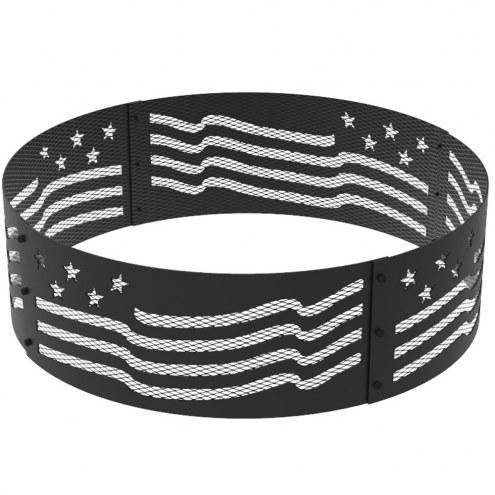 "Stars & Stripes 36"" Round Steel Fire Ring"