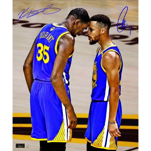 Stephen Curry/Kevin Durant Dual Signed Golden State Warriors 2017 NBA Finals Head to Head 20x24 Photo