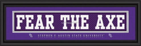"""Stephen F. Austin State """"Fear The Axe"""" Stitched Jersey Framed Print"""