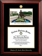 Stephen F. Austin State Lumberjacks Gold Embossed Diploma Frame with Campus Images Lithograph