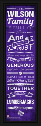 Stephen F. Austin State Lumberjacks Personalized Family Cheer Framed Art