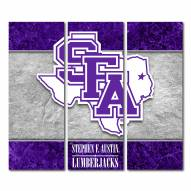 Stephen F. Austin State Lumberjacks Triptych Double Border Canvas Wall Art