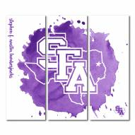 Stephen F. Austin State Lumberjacks Triptych Watercolor Canvas Wall Art