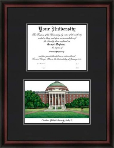 Southern Methodist University Diplomate Framed Lithograph with Diploma Opening