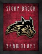 Stony Brook Seawolves Retro Logo Map Framed Print