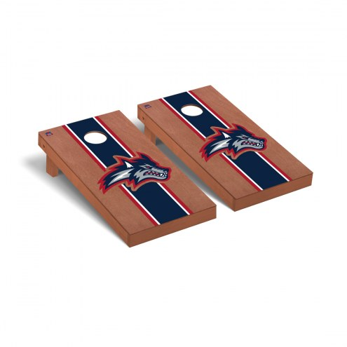 Stony Brook Seawolves Rosewood Stained Stripe Cornhole Game Set