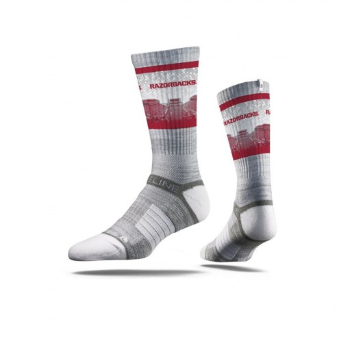 Strideline Arkansas Razorbacks Grey Sooie Adult Crew Socks