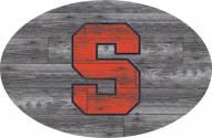 """Syracuse Orange 46"""" Distressed Wood Oval Sign"""