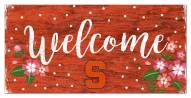 """Syracuse Orange 6"""" x 12"""" Floral Welcome Sign"""
