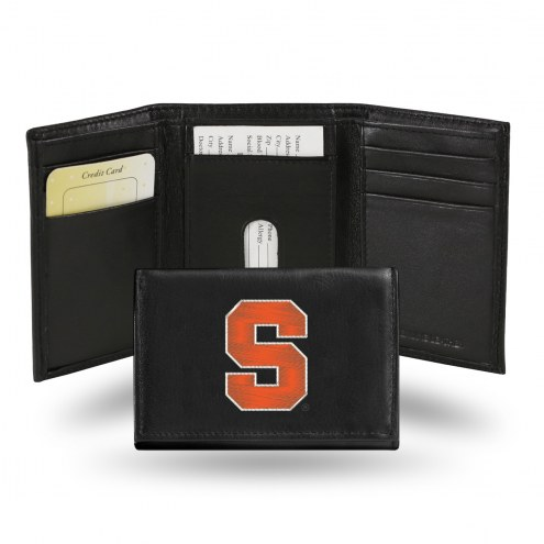 Syracuse Orange College Embroidered Leather Tri-Fold Wallet