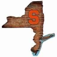 Syracuse Orange Distressed State with Logo Sign