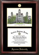Syracuse Orange Gold Embossed Diploma Frame with Campus Images Lithograph