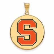 Syracuse Orange Sterling Silver Gold Plated Extra Large Enameled Disc Pendant