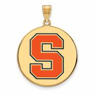 Syracuse Orange Sterling Silver Gold Plated Extra Large Enameled Disc Pendant
