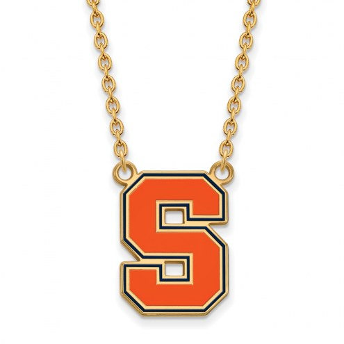 Syracuse Orange Sterling Silver Gold Plated Large Enameled Pendant Necklace