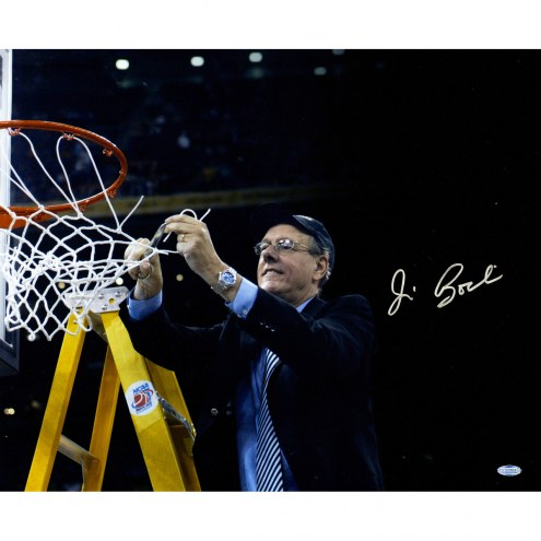"Syracuse Orange Jim Boeheim Cutting Down Net Black Background Signed 16"" x 20"" Photo"
